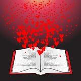 Open boek met vliegende harten Royalty-vrije Stock Afbeelding