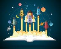 Open boek met zonnestelsel, ruimteveer, planeten, sterren royalty-vrije illustratie