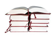 Open boek op een stapel boeken Royalty-vrije Stock Foto's