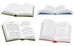 Open boek voor Minnaar van literatuur Encyclopedie?n voor lezing Omgekeerde pagina's Symbolen en voorwerpen in eigentijdse stijl royalty-vrije illustratie