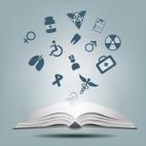 Open boeken en pictogrammen van medisch Royalty-vrije Stock Foto