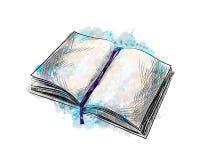 Open boekhand getrokken schets royalty-vrije illustratie