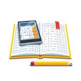 Open boekhoudingsboek met calculator en potlood stock illustratie