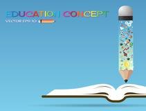 Open boekidee en potloden Het concept van het onderwijs royalty-vrije illustratie