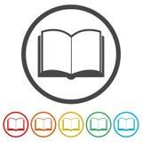 Open boekpictogram, vectorboekpictogram, vectorillustratie, 6 Inbegrepen Kleuren royalty-vrije illustratie