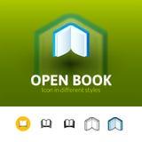Open boekpictogram in verschillende stijl Royalty-vrije Stock Foto