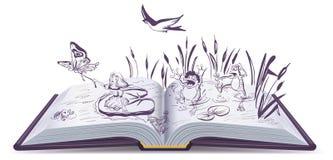 Open boekverhaal Thumbelina vector illustratie