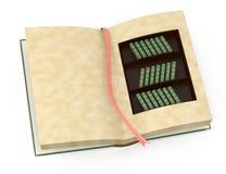 Open bokar med bokhyllainsida Arkivbild