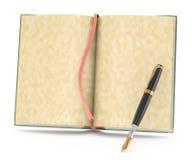 Open bokar och bläckpennan stock illustrationer