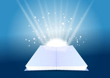 Open book. An illustraion of a open book in red background Stock Image