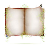Open book. An old open book with blank pages surrounded by leaves and two butterflies.  Concept for fairy tale book