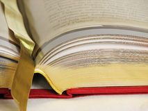 Open book. Golden open book with graphics, close up Stock Images