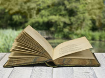 Open book. Vintage poetry book with dead rose; lying on table against countryside background Royalty Free Stock Photo