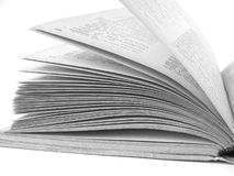 Open book. Fragment in black and white Royalty Free Stock Image