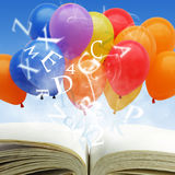Open book. With fancy balloons and text Stock Photography