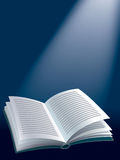 Open book. Illustration of open book on dark blue background with sunshine Royalty Free Stock Photography