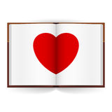 Open book. With white pages and Red Heart. Illustration on white background Royalty Free Stock Photography