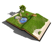 Open book. With grass and tree. illustrated concept Stock Photos