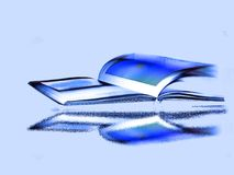 Open Book-3. Open book with Skyblue background.Reflection in special effect Stock Images