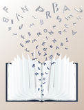 Open book with 3d letters. Open book with falling 3d letters Stock Photography