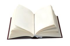 Open book. With two blank pages, isolated on white stock photography
