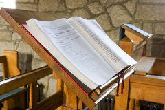 The open book. Bible open in a church ready for service Royalty Free Stock Image
