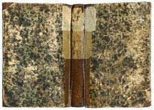 Open Book 6. Old Open book - cover in leather and paper - circa 1871 - isolated on white with clipping path - XL size Stock Images