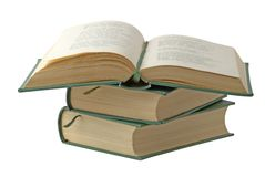 Open book. With green cover isolated over white Royalty Free Stock Photography