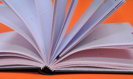 Open book. On orange background with clipping path Royalty Free Stock Photo