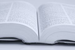Open book. A macro picture of a book spine stock photo