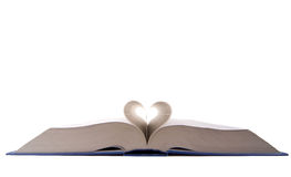 Open book. Shot from below forming a heart shape Royalty Free Stock Images