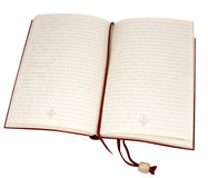 An open book. An open diary, leather bound with a bookmark isolated on white. The book cinch is hanging down.  Clipping path is included Stock Image