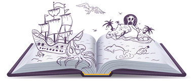 Open book Adventure. Treasures, pirates, sailing ships, adventure. Reading fantasy Royalty Free Stock Photo