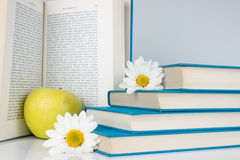 Open book, apple and flower. Open book with yellow apple in front of blue books Stock Photography