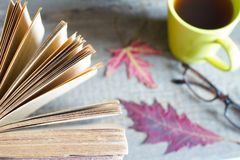 Open book autumn leaves tea and glasses abstract background on wooden boards royalty free stock image