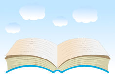 Open book on a background blue sky. Vector illustration stock illustration