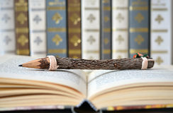 Open book with a background of old books Stock Images