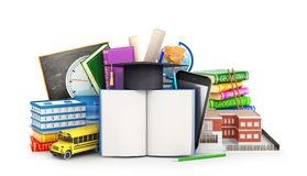 Open book on the background of school supplies. 3d. Illustration royalty free illustration