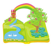 Open book - beautiful princess in the garden Royalty Free Stock Photo