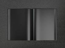 Open book black mockup. On the black skin Stock Photos