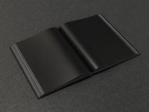 Open book black mockup. On the black skin Royalty Free Stock Photo