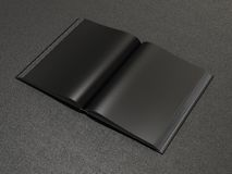 Open book black mockup. On the black skin Stock Photography