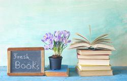 Open book and and blackboard fresh books for 2018 Royalty Free Stock Photo