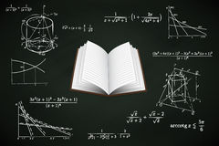 Open book on blackboard with math calculations  Stock Photography