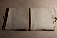 Open Book blank on the background of old cloth Stock Photography