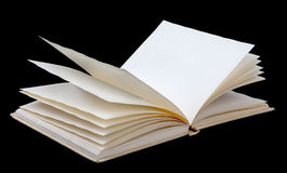 Open book with blank leaves on black Royalty Free Stock Image