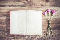 Open Book blank on old wooden background Royalty Free Stock Images