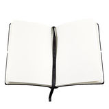 Open book with blank page. An open book with blank page for copyspace text isolated against white background royalty free stock image