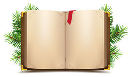 Open book with blank pages and red bookmark. Green Christmas pine branch Royalty Free Stock Photos