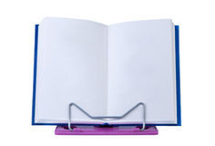 Open book with blank pages on stand. Stock Photos